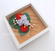 white rose red anthurium paper quilling wall art