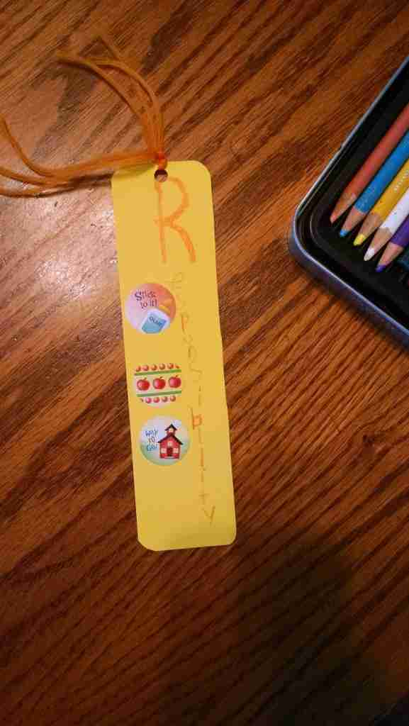 Responsibility bookmark for storytime