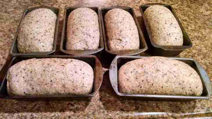 Multigrain bread in bread pans