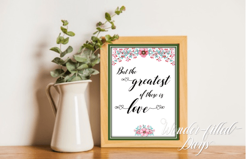 Greatest of These is Love Flowered Wooden Frame