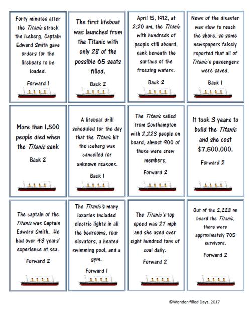 Titanic Board Game Cards