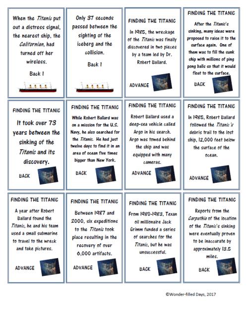 Titanic Game Cards