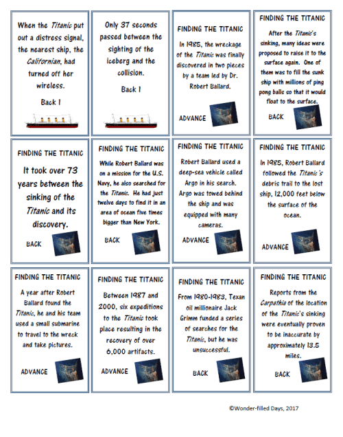 Titanic Game Cards