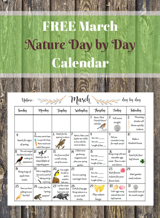 FREE March Nature Day by Day Calenda