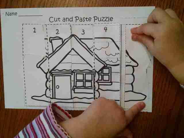 Preschool Cut and Paste Puzzle