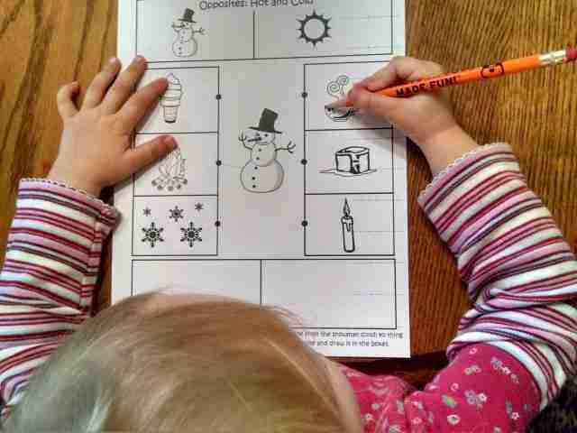 Preschool Opposite printable
