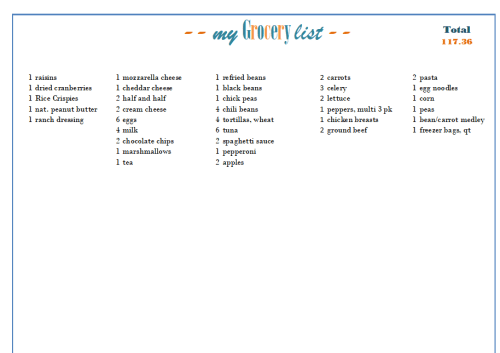 Aldi Grocery List Generator