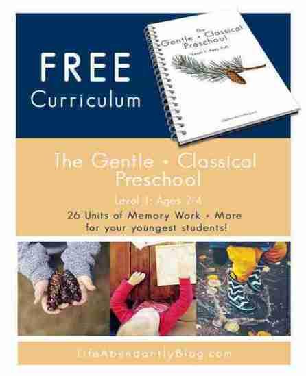 preschool curriculum+classical+education+model+and+Charlotte+Mason
