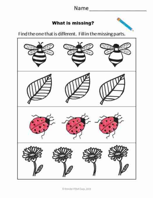 Which one is different? Preschool worksheet-Draw the missing parts