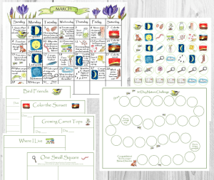 March 2020 Nature Calendar & Activity Sheets Challenge
