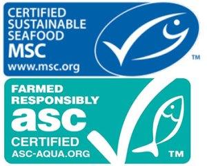 Logo MSC (superior) para pesca salvaje sostenible. Logo ASC (inferior) para acuicultura sostenible.