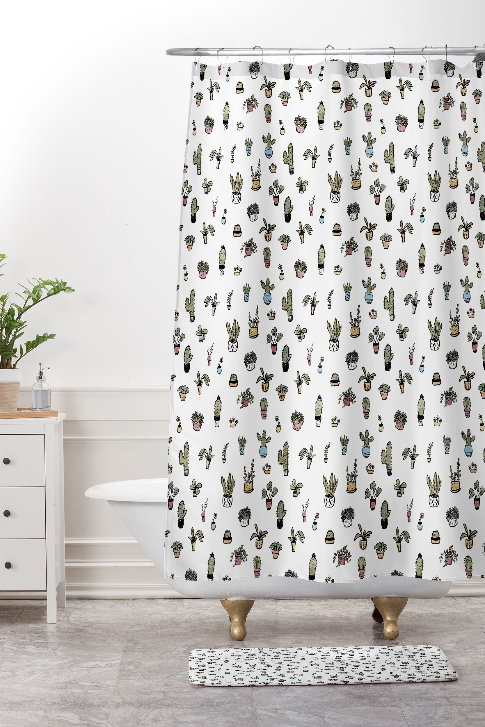 plant lady woven shower curtain