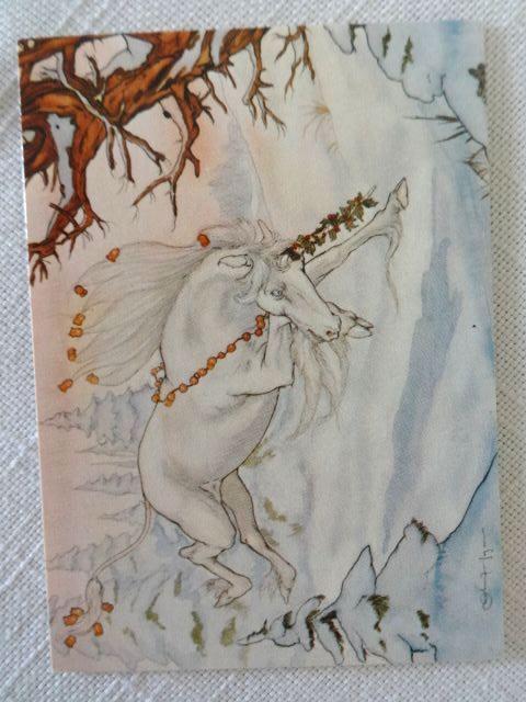 Michael Hague 5 Mini Notecards 1981 Santa Claus Unicorns