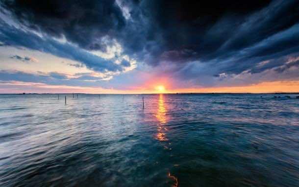 Wonderful Sunset On The Horizon Wide Desktop Background