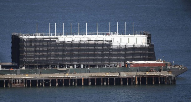 Mysterious structure built on floating barge is seen in San Francisco Bay