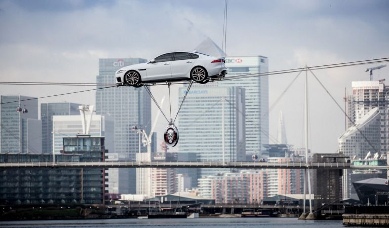 Watch This Jaguar XF Cross Thames River On A High-Wire