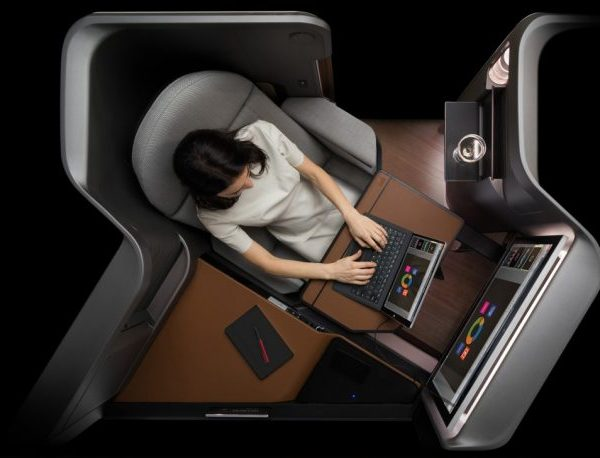 Panasonic's Waterfront system allows passengers to use their own devices to access aircraft's built-in entertainment. Credits: skift.com