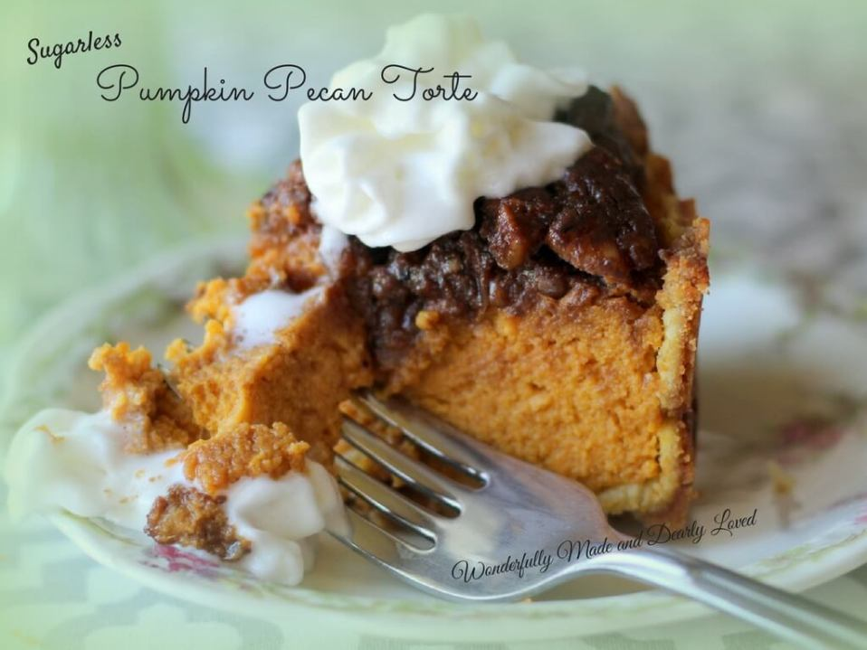 Pumpkin Pecan Torte (Sugar Free, THM S, Low Carb)