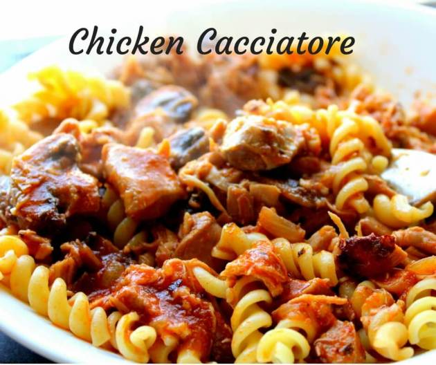A healthy family favorite crock pot or Instant Pot Chicken Cacciatore. (THM S, Low Carb)