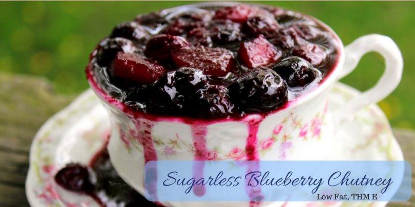 Sugarless Blueberry Chutney (Low Fat, THM E)