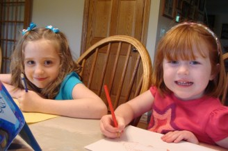 Katie and Norah drawing