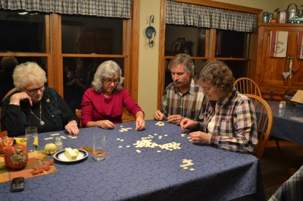 Gramma Darlene, Aunt Tessa, Uncle Kyle and Mom H playing bananagrams