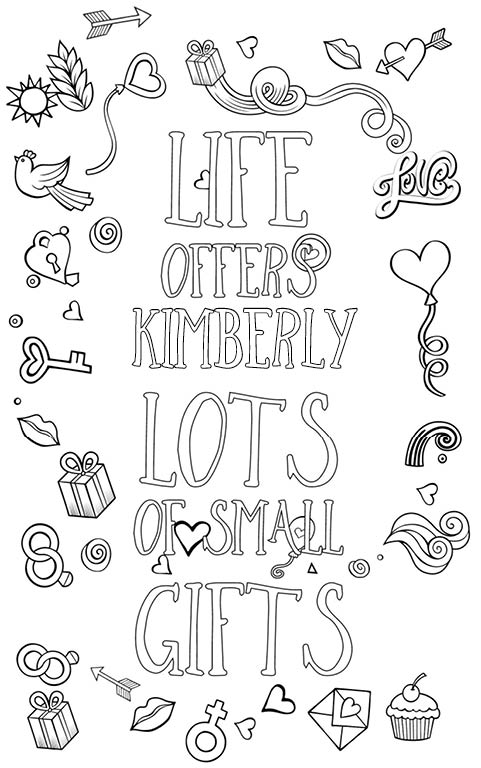 Kimberly is wonderful. The coloringbook personalised with