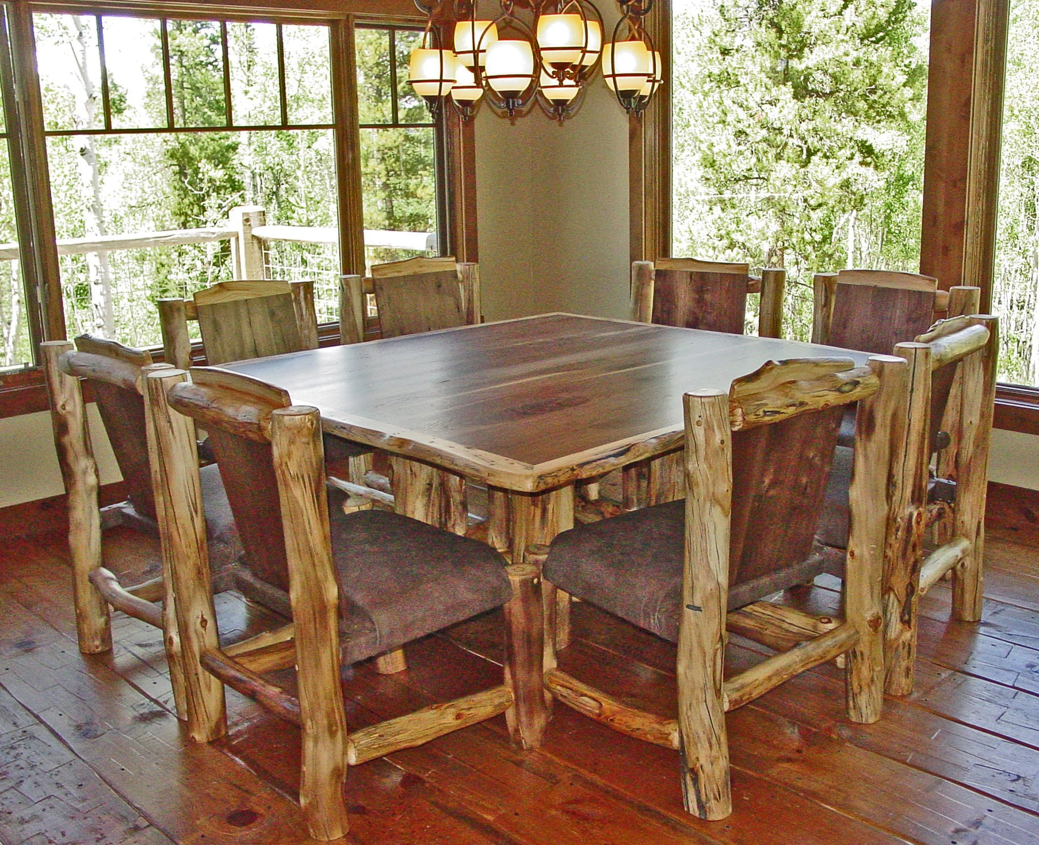 Log Table And Chairs 66 Walnut Dining Table W Log Edge 8 Chairs Downsized2 1