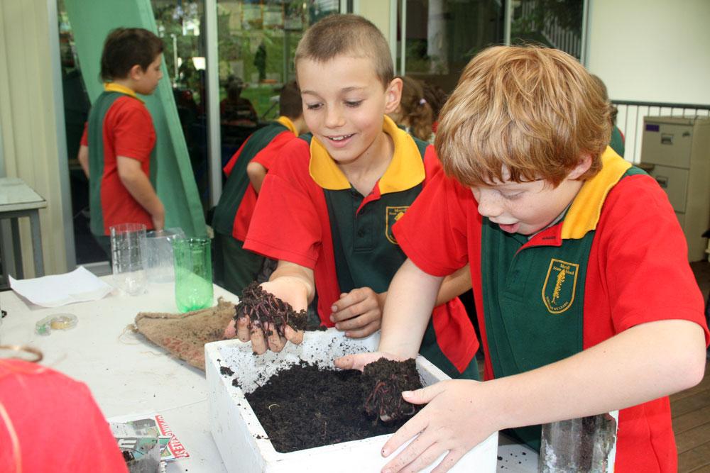 School kids on the Wonderful Worm Waste program