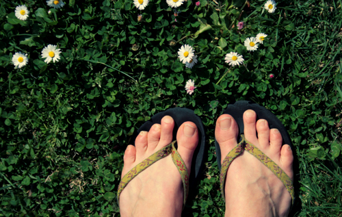 feet and flowers