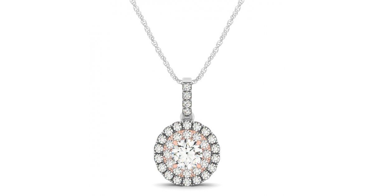 Two Tone Double Round Halo Diamond Pave Drop Pendant