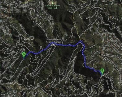 The Route from Wonderland to Canyon Store. 1.4 miles in 5 minutes.