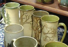 Tree mugs by Mesiree Ceramics (they had Totoro mugs too!)