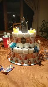 Everyone in the world should be jealous of this awesome Gandalf diaper cake.