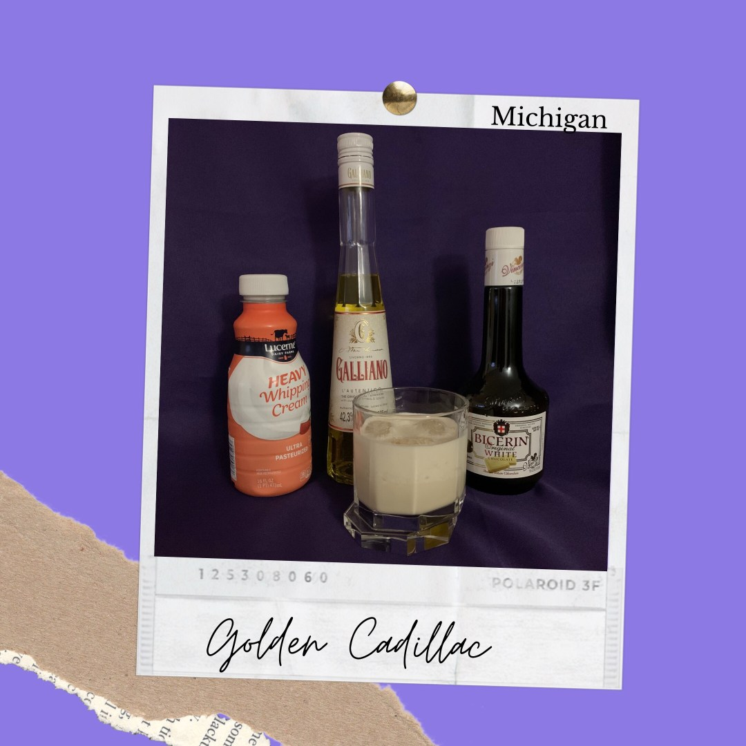 Photo shows Best Drinks Michigan ingedients for creating a Golden Cadillac. The ingredients shown are heavy cream, Galliano Liqueur and Bicerin White Chocolate Liqueur.
