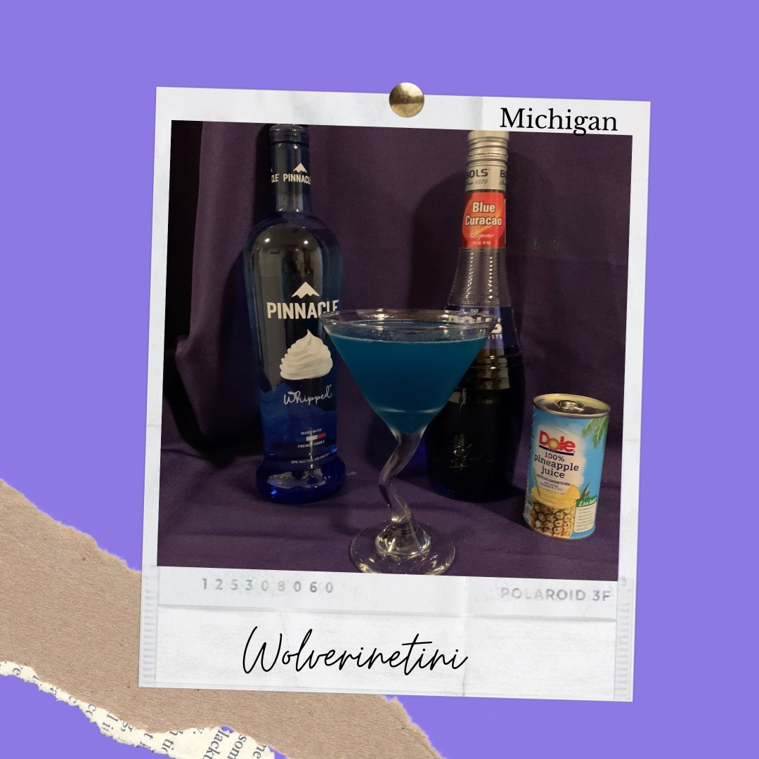 Phot shows Best Drinks Michigan ingredients to create a Wolvertini. Ingredients shown are Pinnacle Whipped Cream Vodka, Blue Curacao and Pineapple Juice.