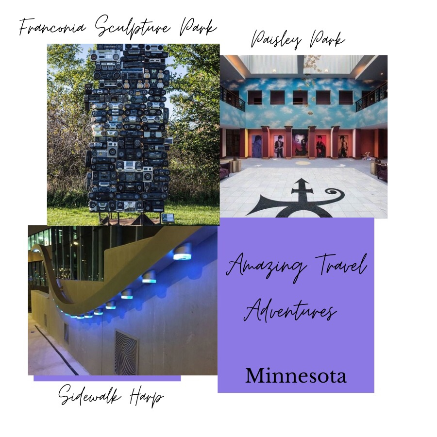 Photo shows three other photos of Amazing Travel Adventures in Minnesota. Photo upper left shows Franconia Sculpture Parl exhibit of old boom box radios stack on top of each other. Photo upper right shows Paisley Park, Prince's studio and museum. Several different photos of Prince and his symbol in the photo. Photo bottom left shows the Sidewalk Harp sculpture in Minneapolsi, Minnesota. LED lights tuen on and off as passerbys walk by the sculpture playing music.