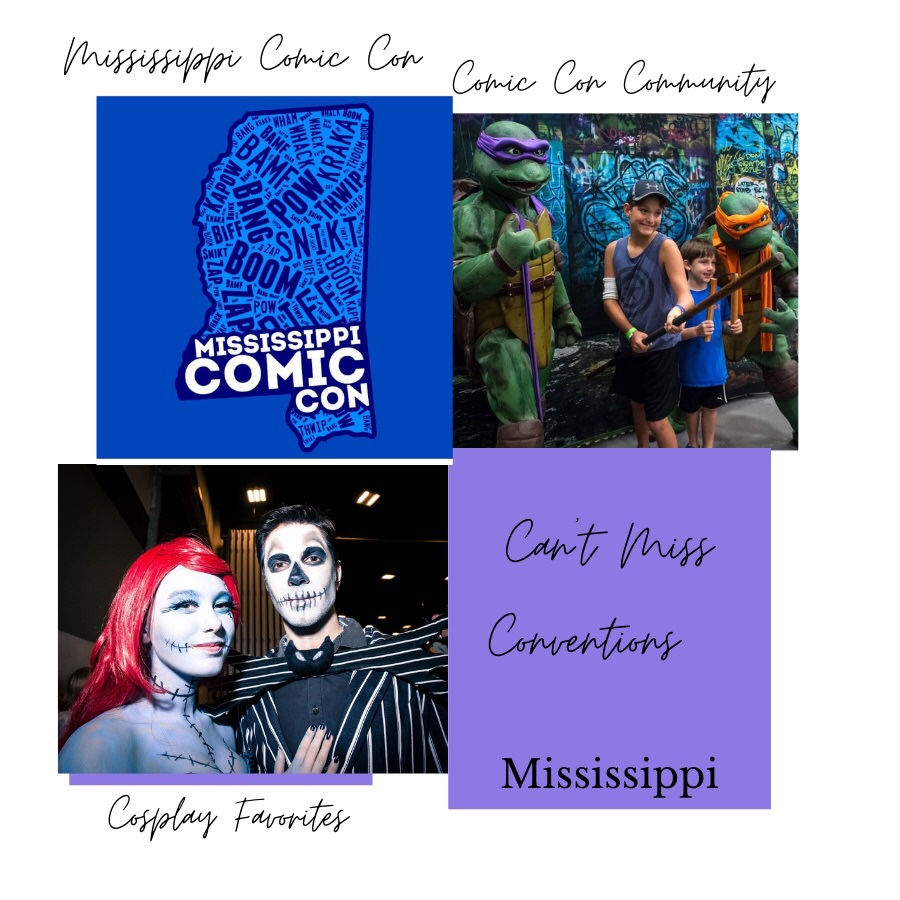 Photos showing Mississippi Comic Con Can't Miss Conventions. Photo upper left shows the event's icon, map of Mississippi with comic book sayings inside the map. Photo upper right shows two young boys getting a photograph with two Teenage Mutant Ninja Turtles - Donatello and Michelangelo. Lower left photo shows a couple dressed as Jack and Sally from Tim Burton's Nightmare Before Christmas.