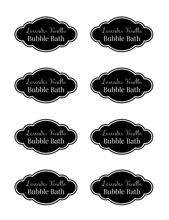 Natural homemade bubble bath for Bubble bottle label template