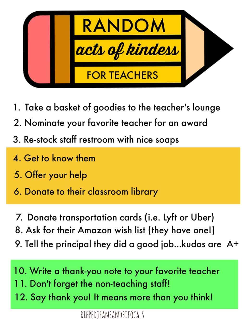 Random Acts Of Kindness For Teachers