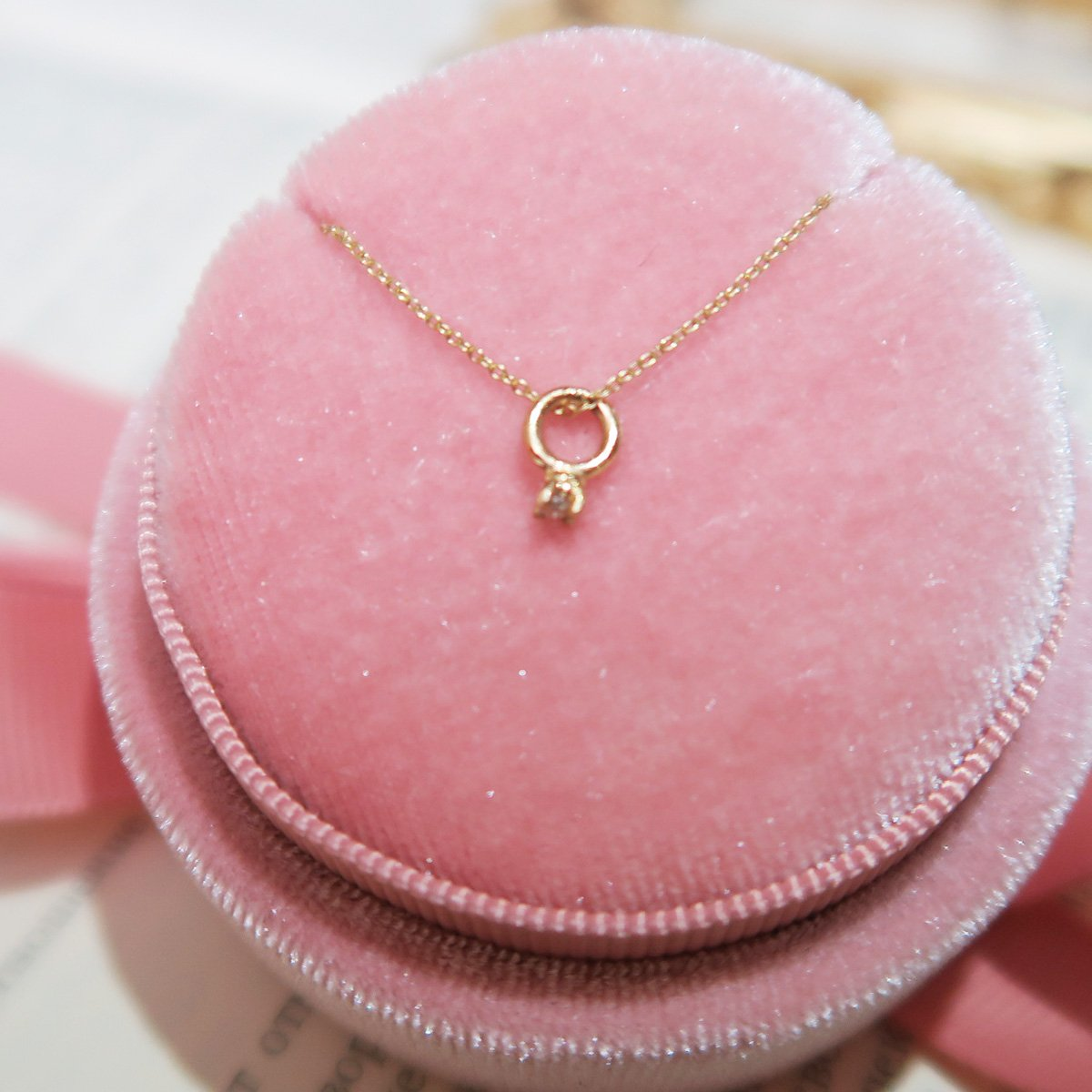 K14 Mother & Child mini Ring Necklace (Diamond Only) - Wonder Nancy Jewelry