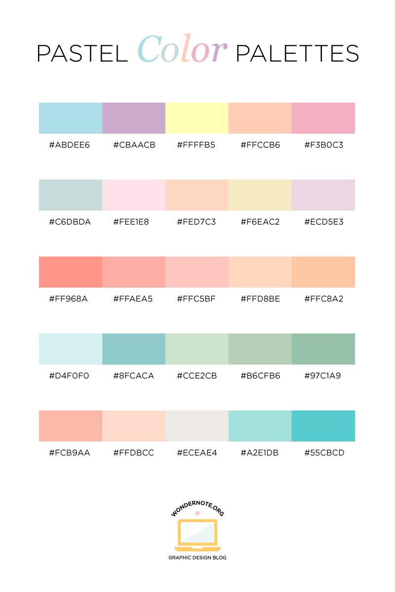 Pastel color palette from Wondernote