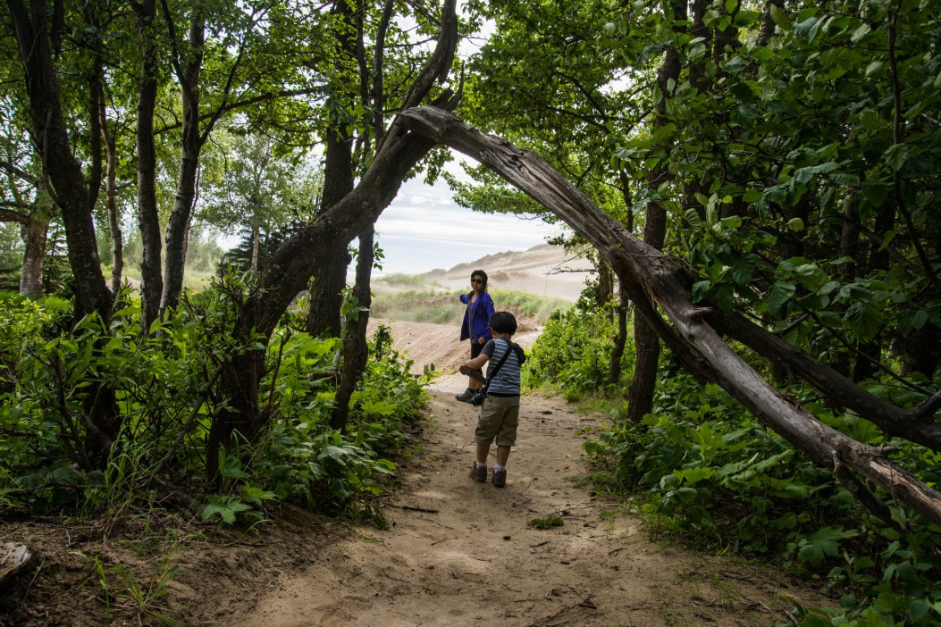 A young boy carries a piece of wood and a camera as he walks under a broken tree arch. His mother points eagerly towards sand dunes as they exit a forest and find sand dunes in Alaska.