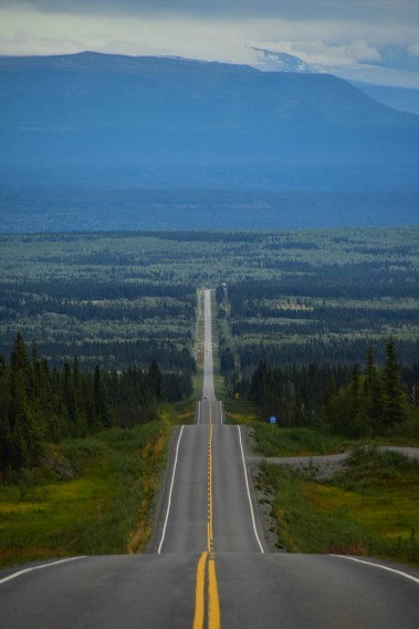 A long straight but hilly road is seen centered in the frame as it cuts trough a dense forest that seems like a sea of trees. A large mountain covers the Horizon.