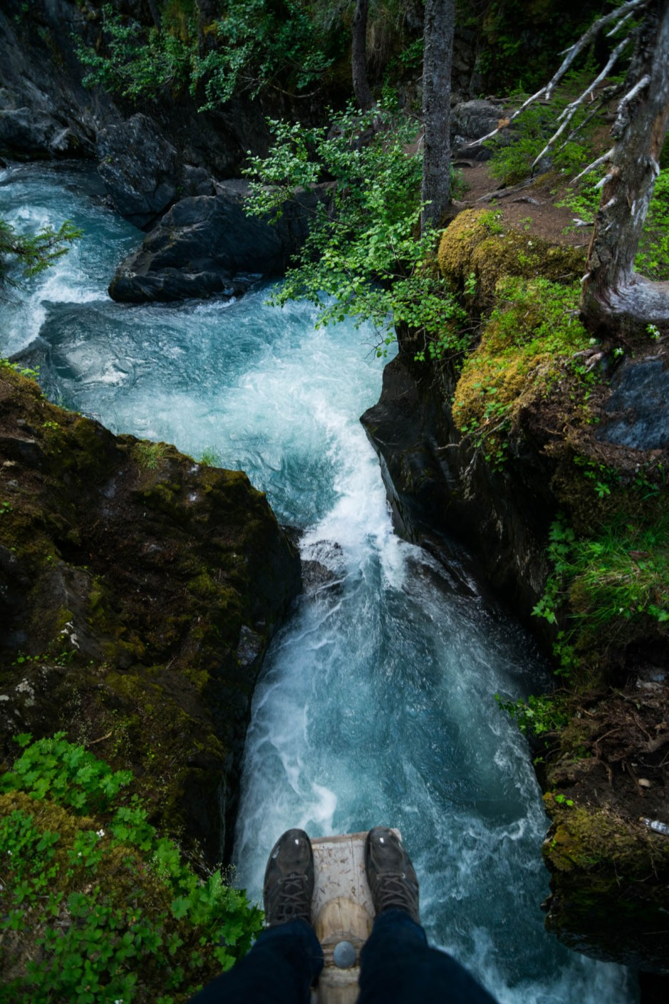 A pair of legs are seen standing on a plank poised to jump into a rushing forest river in Girdwood Alaska.