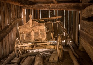 Wagon in Cades Cove Barn