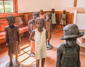 Life-size representations of former slaves interviewed around 1939-40, most of whom were children at the time of emancipation