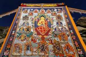 Embroidered Thangka painting is displayed during Shoton Festival in Sera Monastery in Tibet