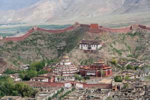 Palkhor Choede monastery in Gyantse and the old fort in Gyantse, Tibet