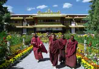 Buddhist monks in front of the summer residence of Dalai Lama - Norbulingka in Lhasa, Tibet